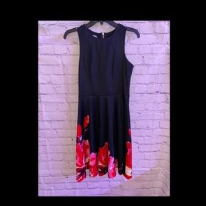 Black dress with red flowers